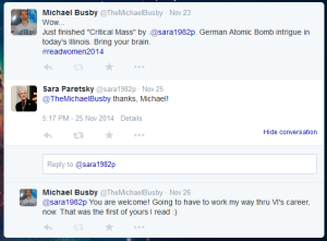 Twitter interaction with author Sara Paretsky
