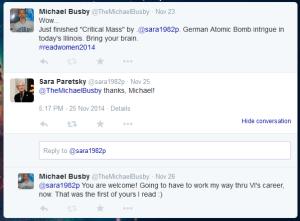 Twitter interaction with author Sara Paretsky